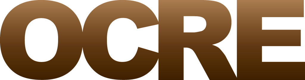 the official OCRE logo in a brown gradient colour